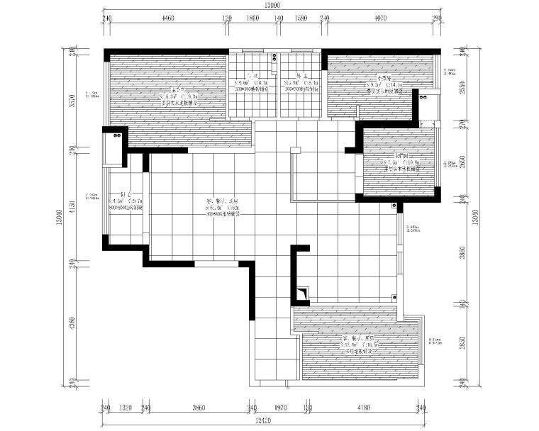 中央华城F3三居室样板房室内装修全套施工图-3地面布置平面图