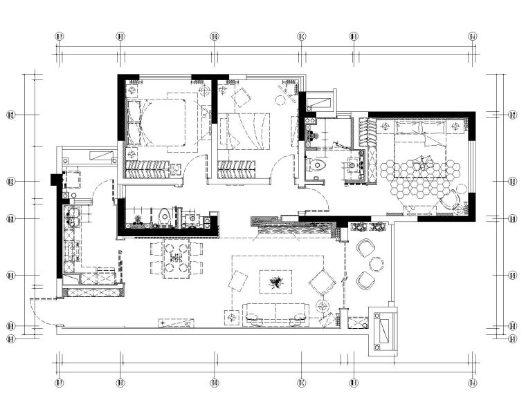 眉山凯旋国际公馆三居室样板室内装修施工图-6给排水点位图