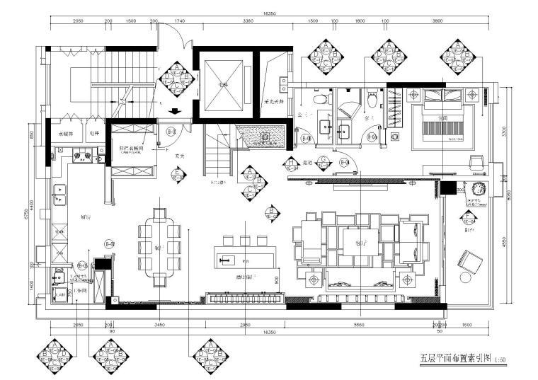 郑州荣盛华府235㎡上叠户型施工图+物料表-五层平面布置索引图