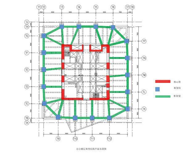 办公楼层典型结构平面布置图