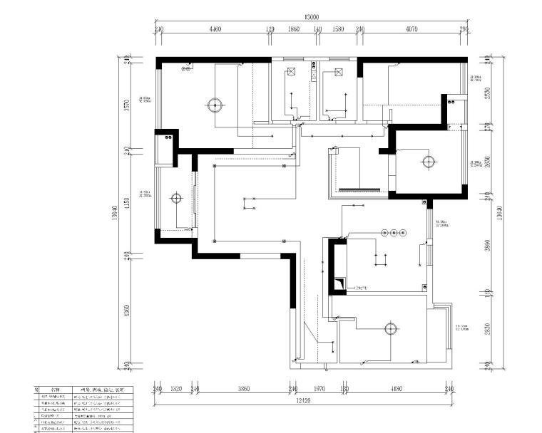 中央华城F3三居室样板房室内装修全套施工图-5开关布置图平面图
