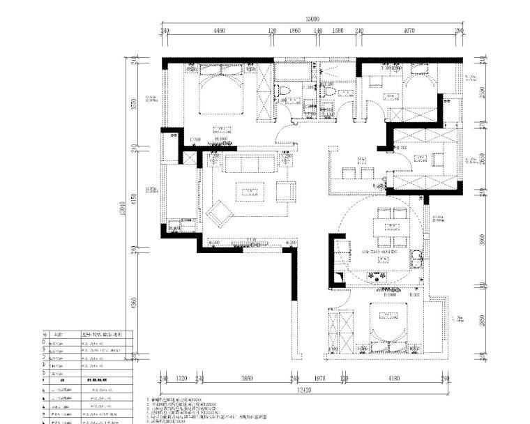 中央华城F3三居室样板房室内装修全套施工图-6强弱电布置平面图