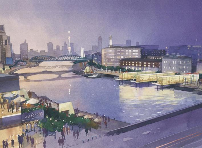 [上海]苏州河滨河景观地块详细规划设计文本-鸟瞰图1