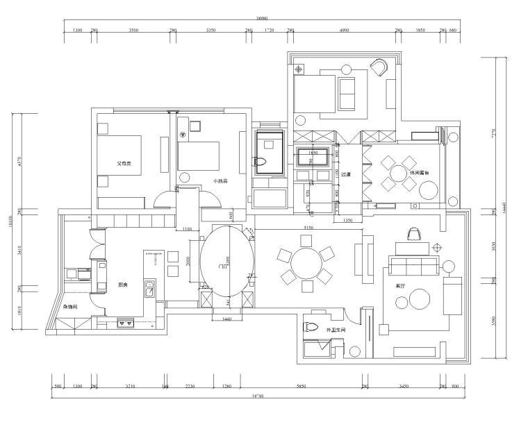 景江城市花园现代风格三居室样板房装修图纸