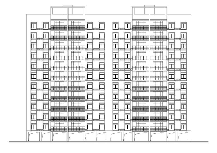 底层架空一梯两户高层住宅楼建筑施工图-01立面图