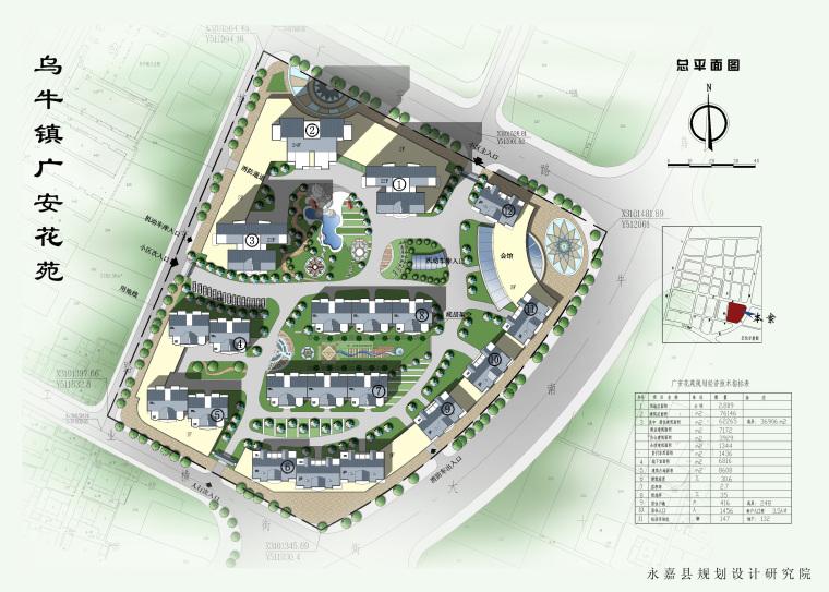 某花园住宅区规划及建筑施工图(含效果图)-总平出图