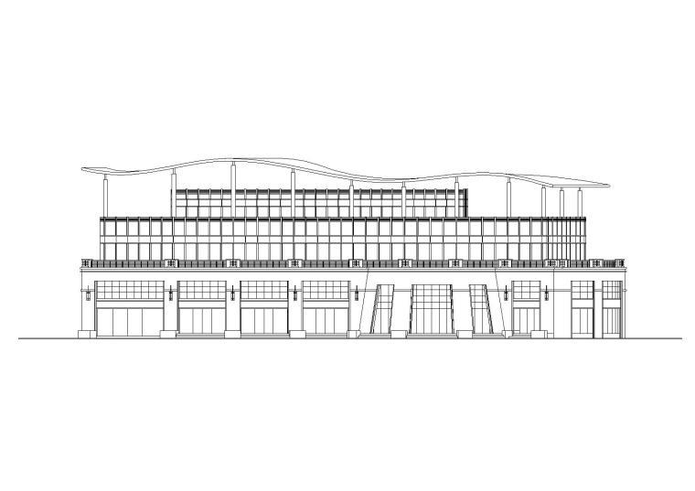 异形屋顶多层会所建筑施工图