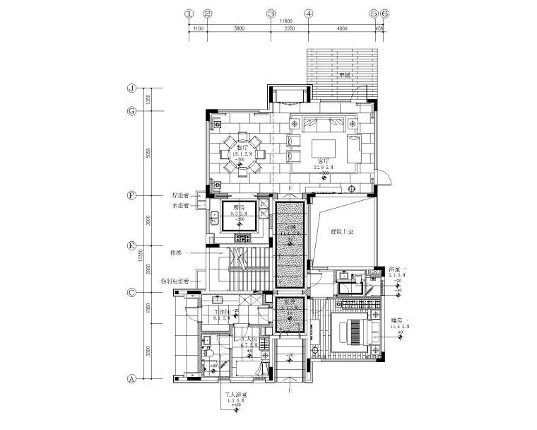 珠海华发水郡花园四居室别墅样板房施工图