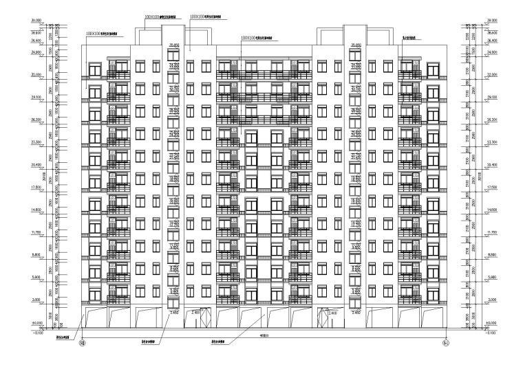 底层架空一梯两户高层住宅楼建筑施工图-02立面图