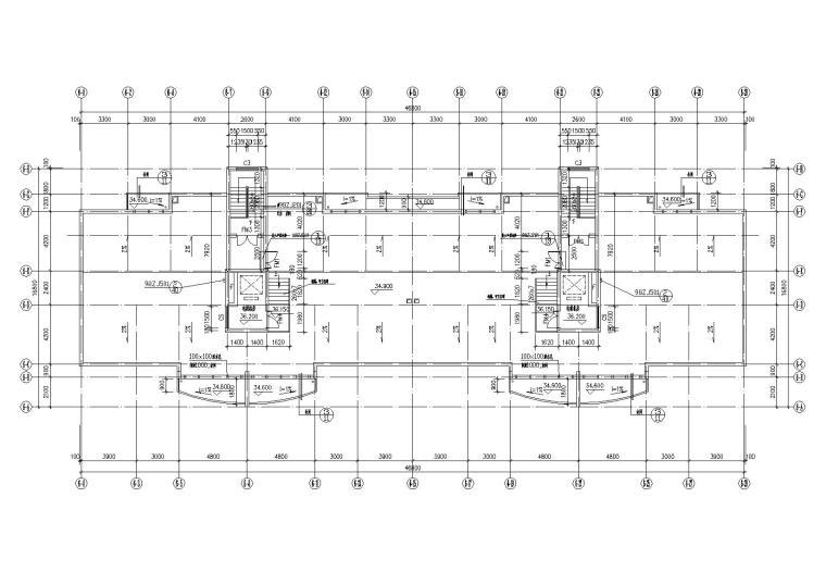 底层架空一梯两户高层住宅楼建筑施工图-07天面层平面图