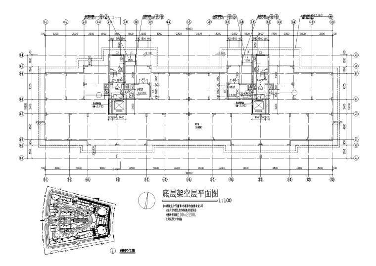 底层架空一梯两户高层住宅楼建筑施工图-04底层架空平面图