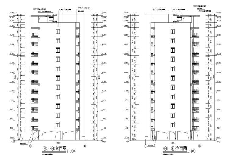 底层架空一梯两户高层住宅楼建筑施工图-03侧立面图