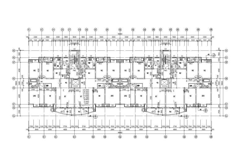底层架空一梯两户高层住宅楼建筑施工图-05二至九层平面图