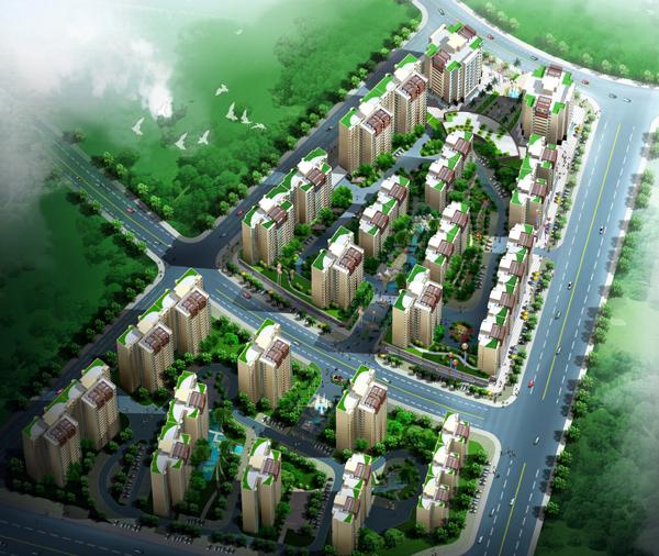 底层架空一梯两户高层住宅楼建筑施工图-鸟瞰
