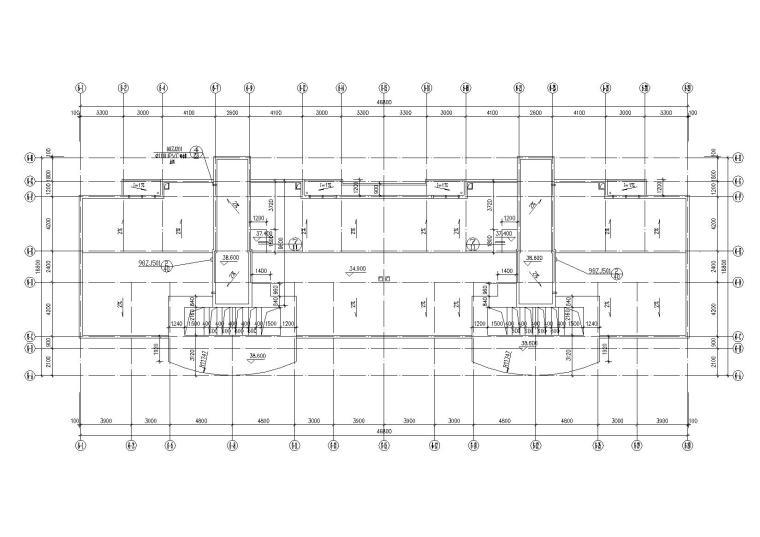 底层架空一梯两户高层住宅楼建筑施工图-08屋顶平面图