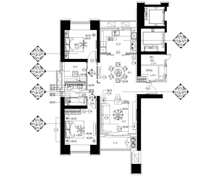 大连滨海新区海洋公园两居室样板房施工图