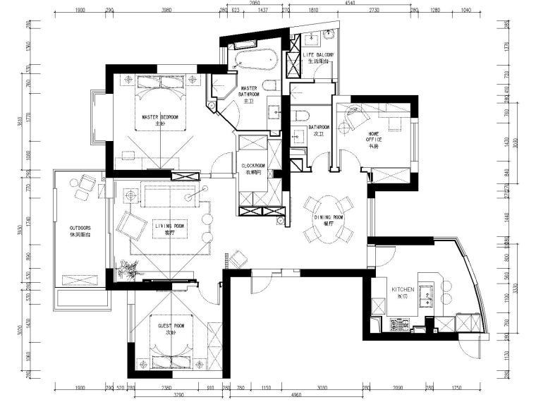 [杭州]林风花园映水苑两居室样板房装修图纸