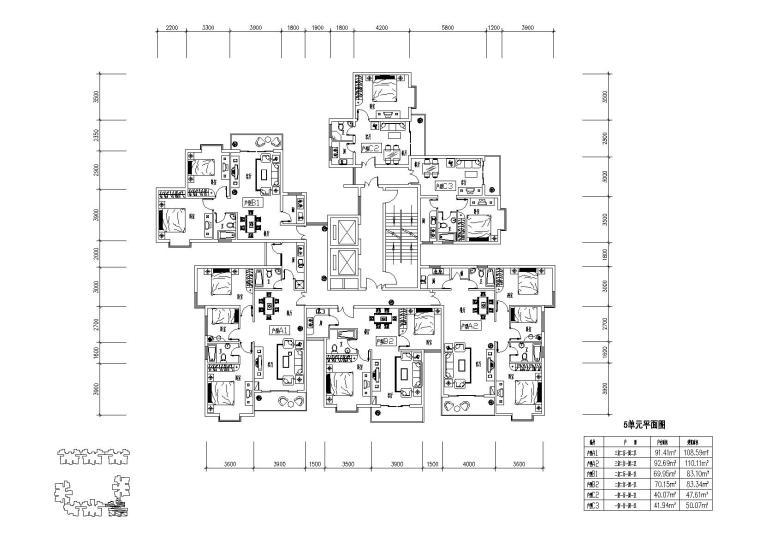 高层住宅组合户型平面图-户型图(3)