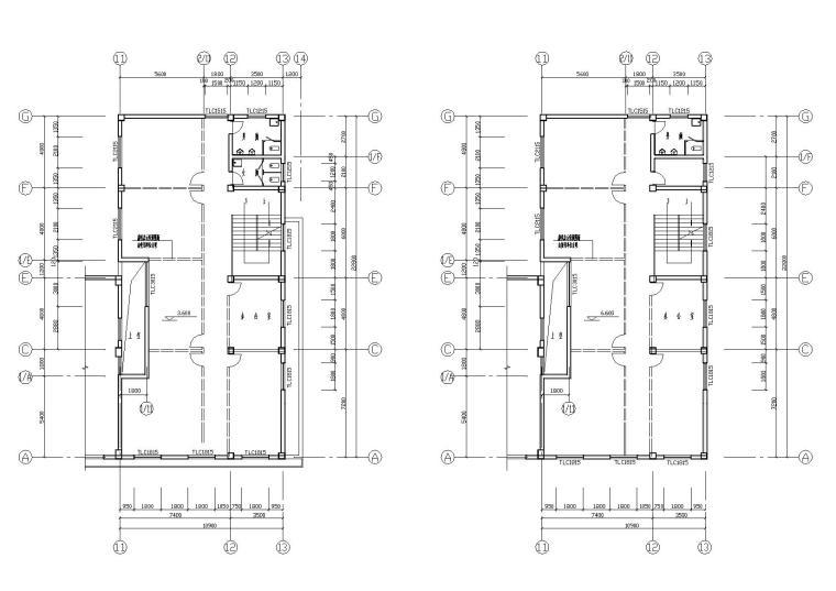 阳光城住宅区建筑设计施工图-一层二层平面图