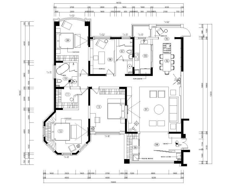 君临新城三居室样板房室内装修全套施工图