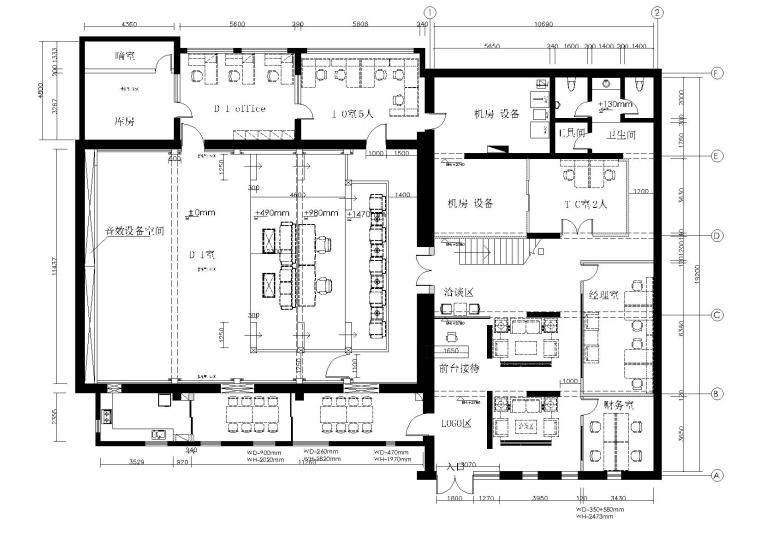 [上海]华谊兄弟办公室设计施工图+设计方案-平面布置图