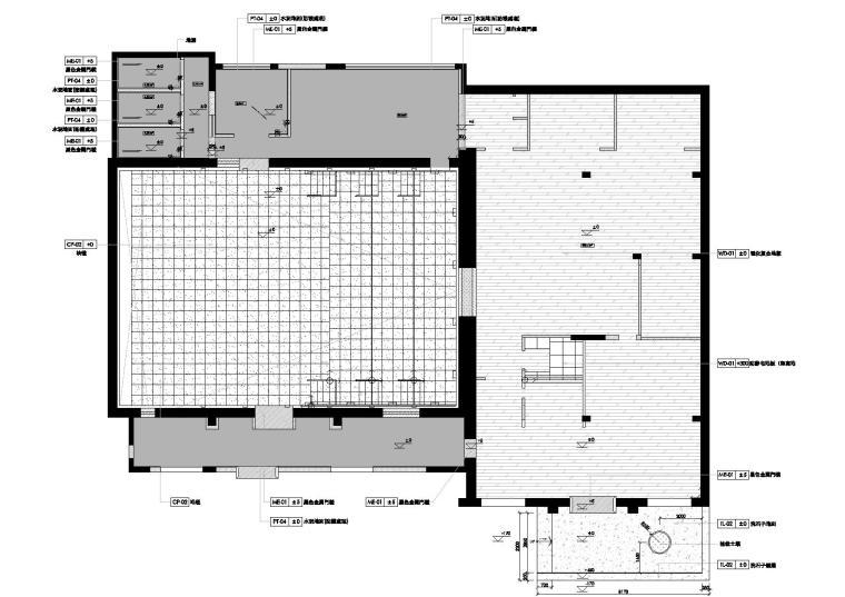 [上海]华谊兄弟办公室设计施工图+设计方案-地面铺装图