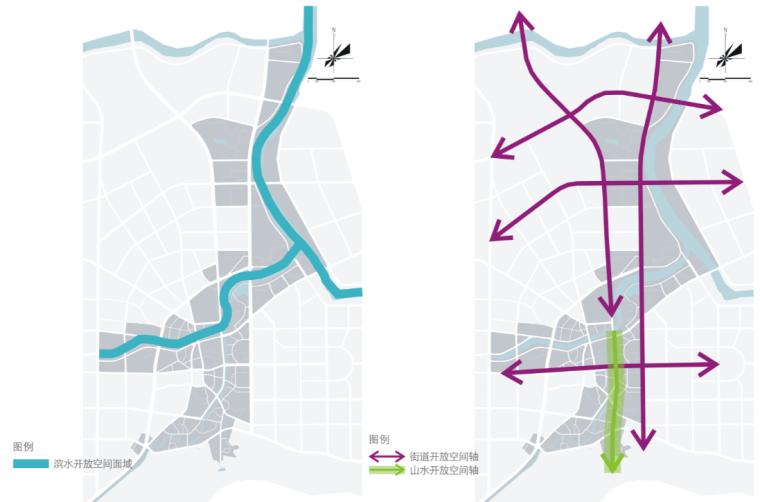 [湖北]通城县两河四岸村镇治理规划文本-开放空间及轴线分析