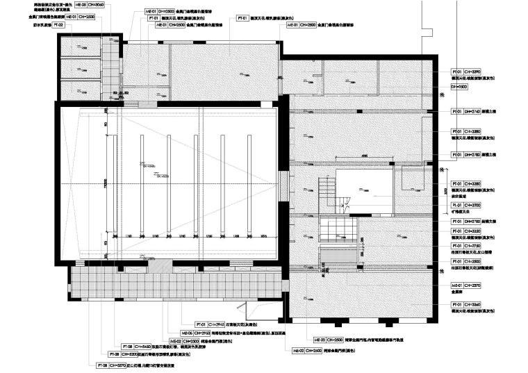 [上海]华谊兄弟办公室设计施工图+设计方案-天花反映图