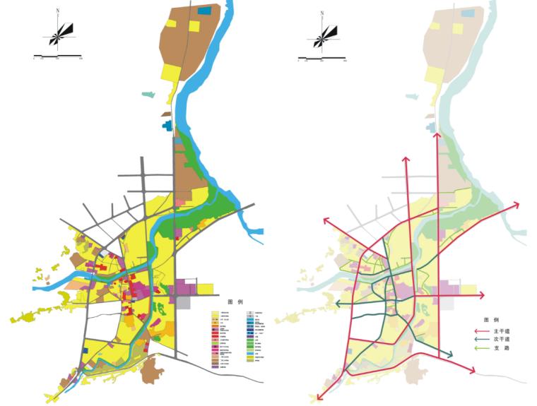 [湖北]通城县两河四岸村镇治理规划文本-土地利用及交通现状图