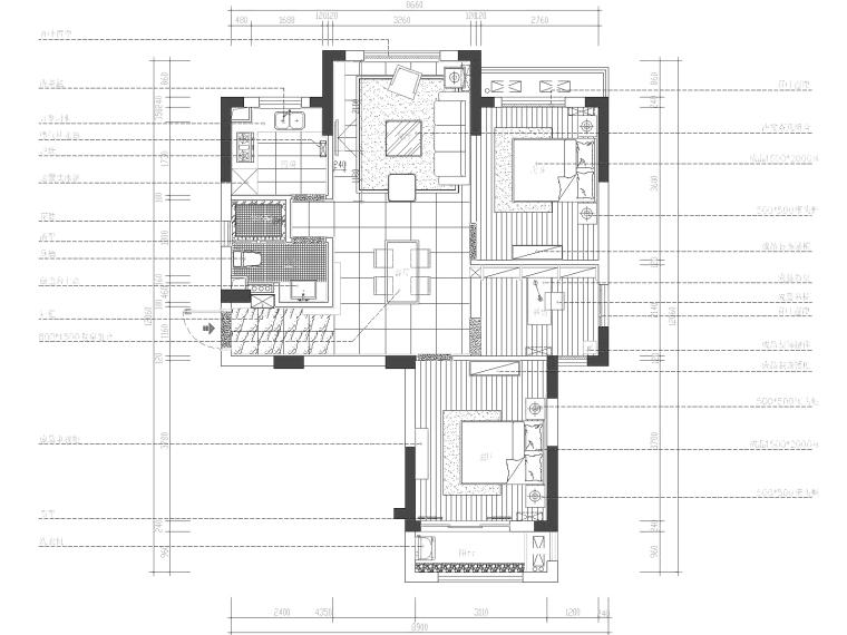保亿·丽景山两居室样板房室内装修施工图