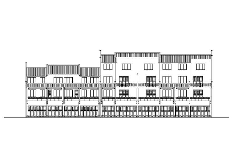 仿古民居建筑施工图(CAD)-立面图2