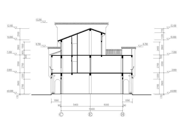 仿古民居建筑施工图(CAD)-剖面图
