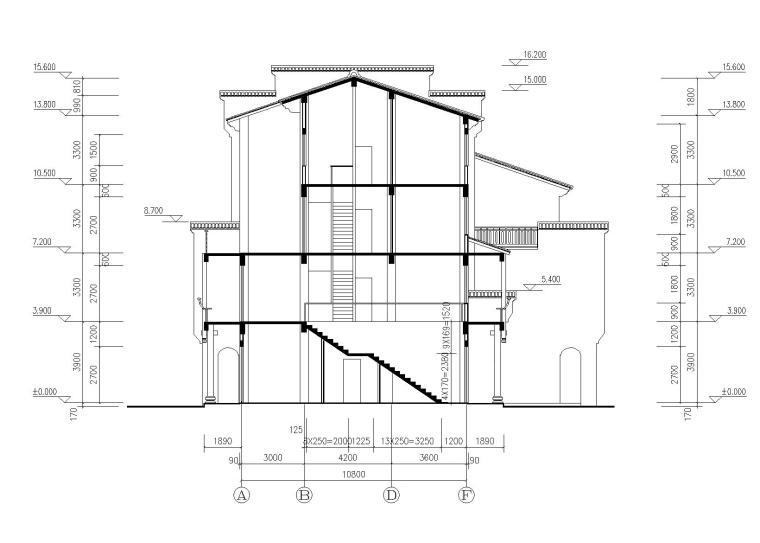 仿古民居建筑施工图(CAD)-剖面图2