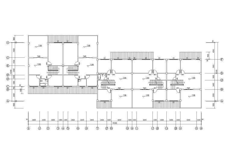 仿古民居建筑施工图(CAD)-平面图2