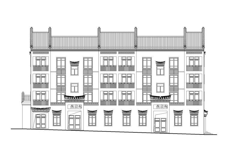 四层古建筑民居建筑施工图