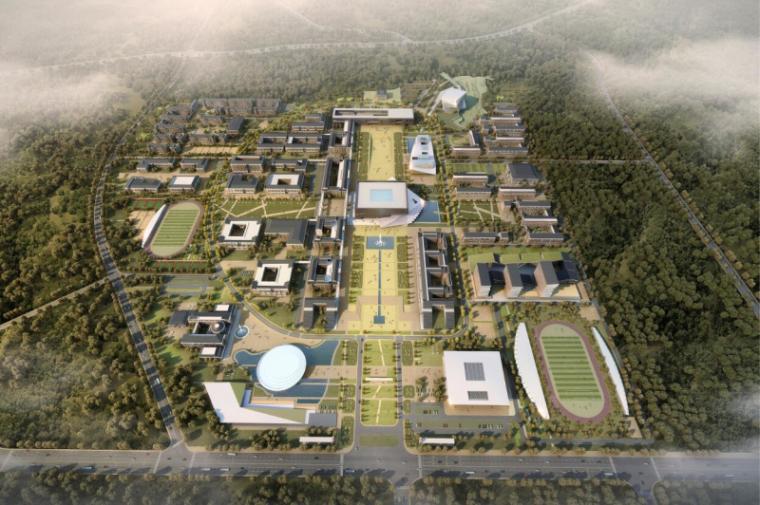 [山西]大学东山校区规划建筑模型设计-山西大学东山校区规划投标方案 哈工建院 (1)