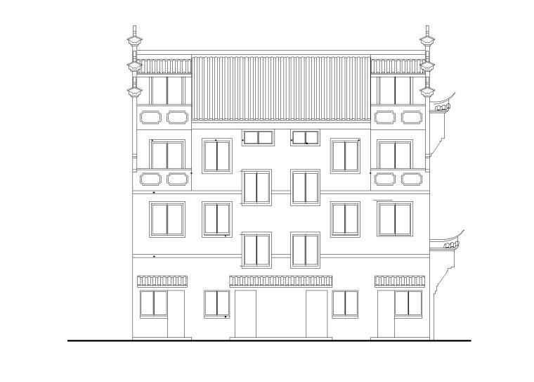 农村徽派马头墙住宅楼施工图(CAD)