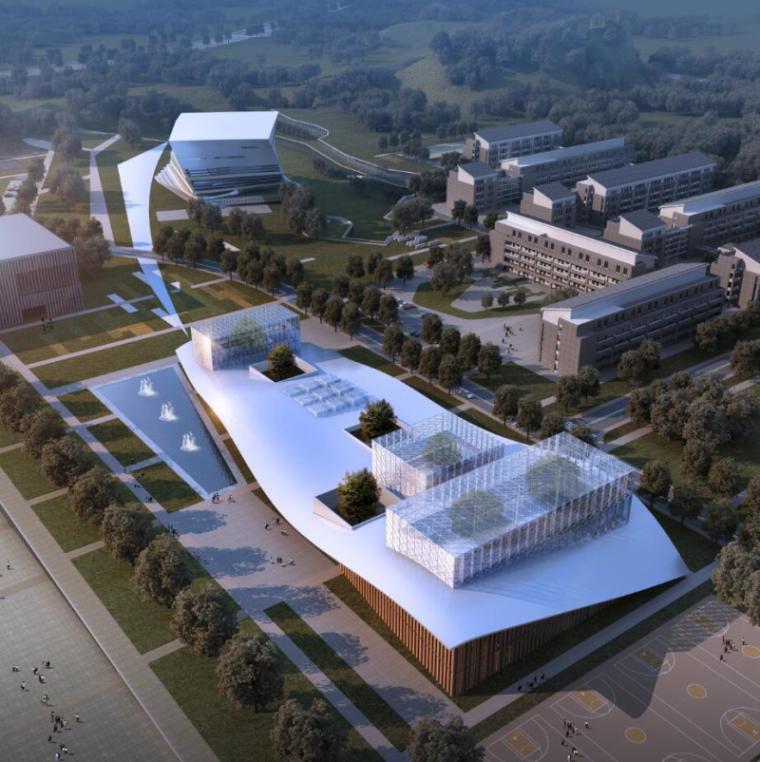 [山西]大学东山校区规划建筑模型设计-山西大学东山校区规划投标方案 哈工建院 (9)