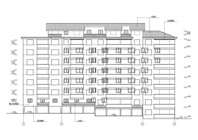 阳光城住宅区建筑设计施工图-02立面图