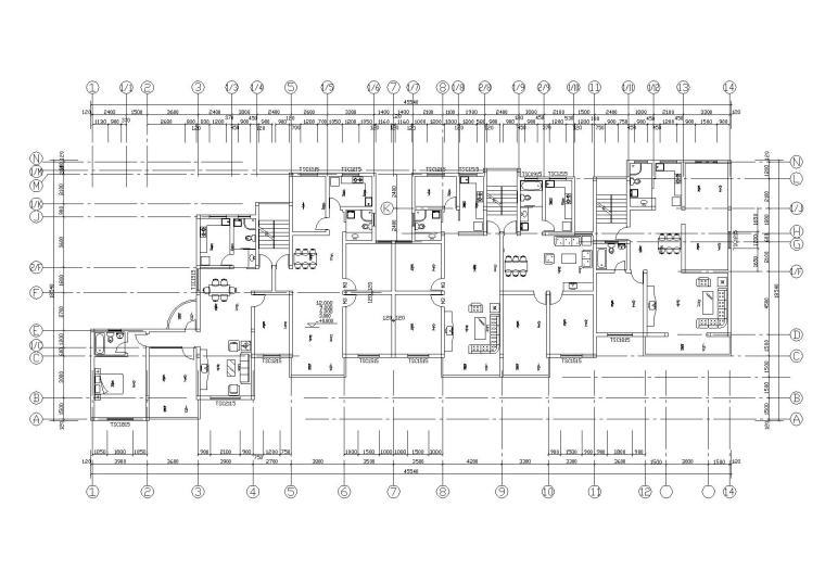阳光城住宅区建筑设计施工图-03一至五层平面图