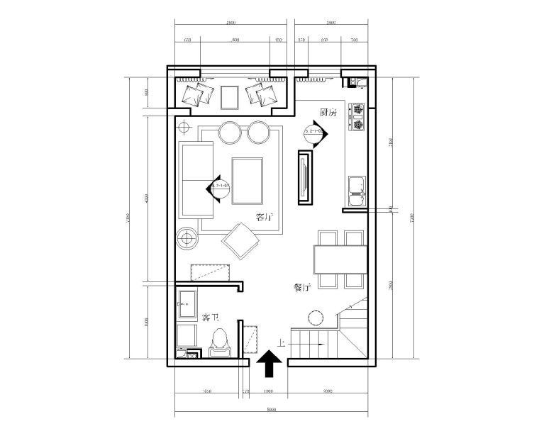 现代风格两居室LOFT样板间室内装修施工图