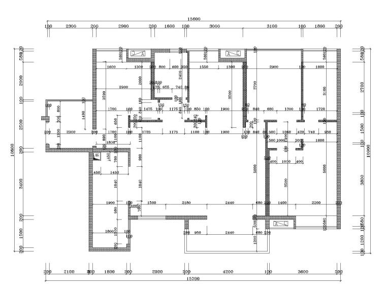 湘域中央花园现代风格A户型样板间施工图-3砌墙图