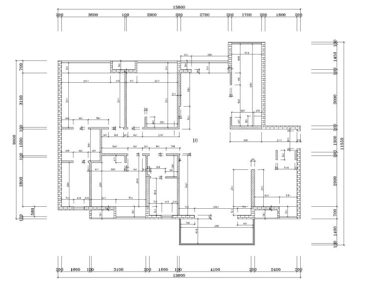 湘域中央花园现代风格B户型样板间施工图-3墙体尺寸图