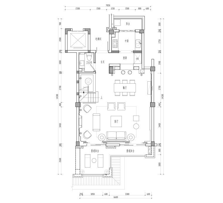 福州金辉半岛两居室别墅样板房装修施工图