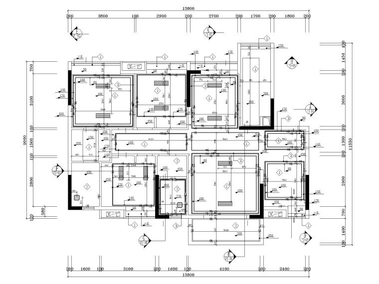湘域中央花园现代风格B户型样板间施工图-4天花吊顶图