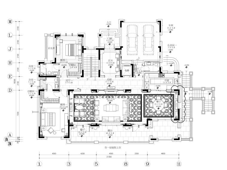 印象古滇湖景林菀五居室样板房装修施工图