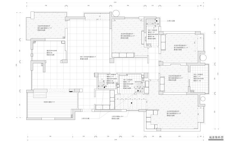 水景城四居室样板房室内装修施工图+效果图-地面物料图_看图王