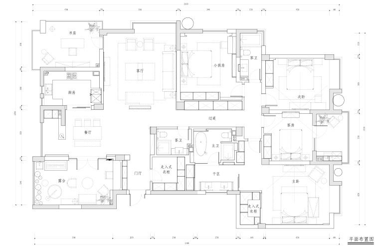 水景城四居室样板房室内装修施工图+效果图