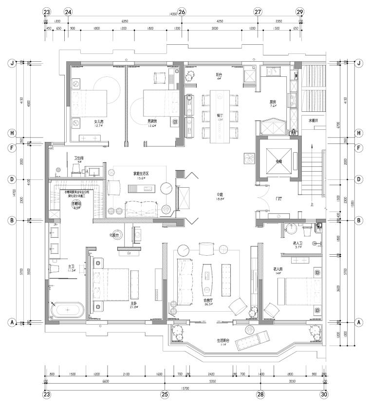 正弘瓴中式风格四居室样板间室内装修施工图
