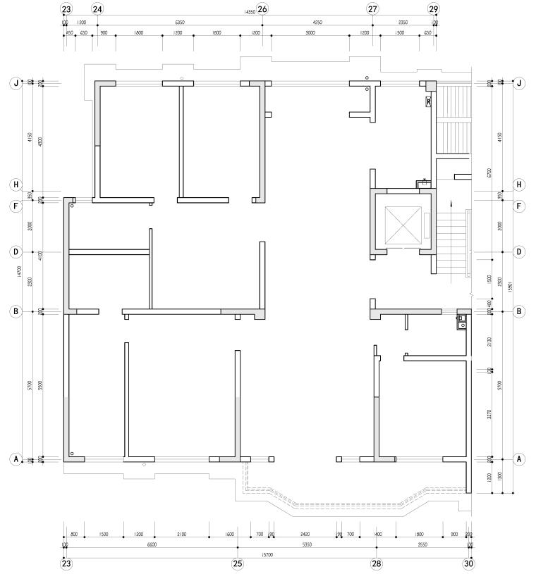 正弘瓴中式风格四居室样板间室内装修施工图-原始结构图